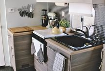 Tiny Home Kitchen / Awwww, the heart of the home! Small kitchens need crafty storage solutions.