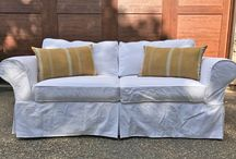 White Denim Slipcovers / White denim slipcovers. Go ahead and put your feet up. These durable covers are wash and wear for everyday casual living.