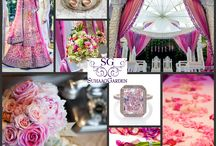 SG Collages: Color Boards / At Suhaag Garden, we don't just paint the town red, we paint it pink, green, orange, purple, blue... We've categorized our decor by color to help you select the ideal theme for your wedding and reception.