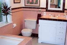 What to do with a pink bathroom! / I'm posting all these pink bathroom ideas to help figure out what we're going to do with an all pink vintage bathroom that will be shared with my hubby... / by Gwen Plauche