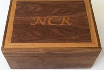 Boxes with inlaid letters/designs