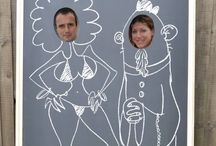Black board, Peep board, Chalk Board / Use your artistic skills to draw your friends dream bodies while they stand behind the board. Take a photo and let them take a peek ! Fun and laughter assured at any type of party with this unique peep-chalkboard ! For more information and prop hire, please visit www.loveartdesigns.co.uk