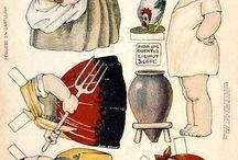 Bambole di carta d'epoca