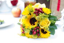 """Styling: Country Charm Wedding / A """"happy"""" collection of warm colors, rustic and vintage details."""