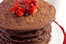 Chocolate pancakes / Julias recipe 1cup of pancake mix.    1/2 of milk    Chocolate syrup or melted chocolate as much as you want.   And one egg mix intil liquid.  Enjoy