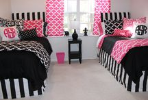 Pink and Black Teen Dorm Bedding and Decor / Always popular, bold black and white mixes with a pop of PINK! beautiful custom bedding, trendy ideas and accessories. / by Decor 2 Ur Door Bedding