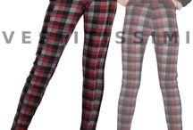 Pantaloni donna vita alta scacchi panta leggings scozzese skinny tartan slim P12