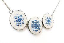 cross stitch and satin stitch