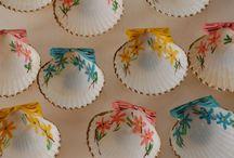 Hand painted seashells