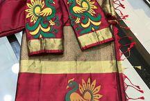 aari work saree combination