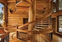 Stair Cases / Stair cases inside of Log Homes can be as unique as the home itself. Here are some of our favorites!
