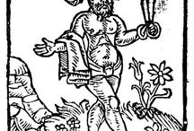 The Naked Englishman can't decide what fashion to wear / The Early Modern Englishman was regarded -- both within the country and abroad -- as a fashion butterfly, always changing his apparel, From c.1550 thus arises the image of the naked Englishman holding only a roll of cloth and a pair of shears. The earliest reference to the motif known to me, however, is not English, occuring in a sermon by Michel Menot (d1518) where it is the Frenchman thus represented, in a Venetian palace. By 1557 the naked German is attested (Wickram), & by 1571 pictorialised