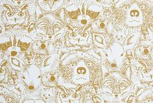 Chasing Paper Wallpaper / The super cute, hidden animal Menagerie print is sold as removable wallpaper tiles with Chasing Paper!