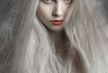 Red Lipstick Grey Hair Inspiration / Beautiful grey hair looks with a red lip twist.