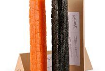 Burny / Design candle Burny in shape of burned wood.