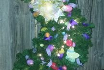 Decorative lit holiday ladders / These are 30 inches tall lit holiday decorative ladders. All handmade and stained.