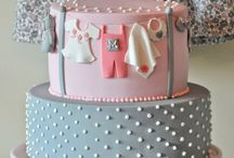 baby shower GIRL pink ,gray & white