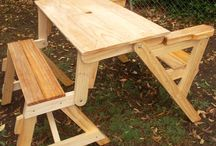 Folding Picnic Tables / How to build folding picnic tables and benches. Two and one piece units that can be folded from picnic table to bench.
