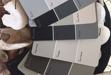 PAINT SWATCHES IN GREY TONES / Bedroom in black and greys