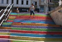 RAINBOW : Another rebellition / A week ago Hüseyin Çetinel, who is a forest engineer, painted the stairs of Cihangir. But same night the municipality painted them again with grey. This caused other cities' reaction. Now Turkey has colourful stairs.
