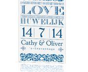 """Inspiratiebord Koningsblauw / Inspiratiebord passend bij de trouwkaarten in de kleur """"Koningsblauw""""!"""
