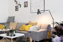 Salon jaune gris