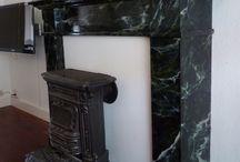 Marmer en hout imitatie (eigen werk) / Een schouw, wand, lambrisering of een beeld verfraaien met een marmer imitatie. Vele looks mogelijk!