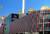 Metricon Stadium - Gold Coast Australia / Louvreclad designed and installed the main architectural feature fins of the stadium that is home to the Gold Coast Suns AFL team and several 2015 Commonwealth Games events. The result of the external feature cladding was absolutely stunning!