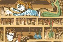 Ilustracje - książki, czytanie