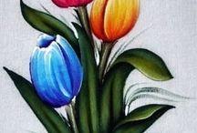 Pintura tecido flores