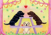Labrador Retriever Original Paintings / Whimsical Labrador Retriever Paintings by Naomi Ochiai.  Funny and cheery scene with adorable Labradors for Labrador Fans!