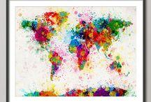 Landkarten Malerei