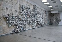 Almyra. Newspapers Art / Objects and Installations. Newspapers and  threads