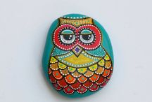 Hand painted stone owls