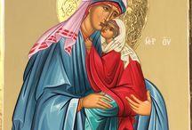 Saint Anna with little Theotokos virgin Mary