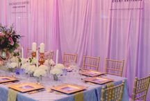 Purple + Gold Wedding / This gorgeous Purple and Gold Wedding style was displayed at the Wedding Expo. With an emphasis on the different purple hues, complimented by gold accents and soft chandelier lighting, for ambience. It was no surprise it was a favourite for many of the couples who attended. Our design department incorporated a beautiful floral theme throughout the custom stationery which carried through the theming beautifully. Youtube: https://www.youtube.com/watch?v=YoDfYC2lecE&feature=youtu.be