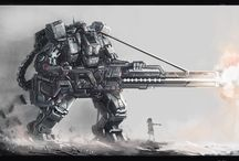 Mechas, powered exoskeletons, mobile suits