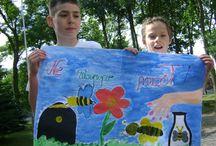 Stowarzyszenie Dobrzyniacy w Brzuzem - plakaty nt. ochrony pszczół podczas oprysków roślin