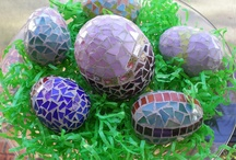 Easter Mosaics / Feeling inspired to create a mosaic?  Use PromoCode PIN5 to save 5% off all of your handcut, stained glass tiles at www.MosaicTileMania.com.