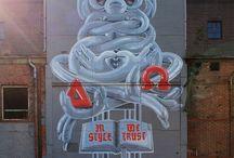 Street Art / Graffiti , stencils , stickers, posters