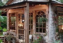 Outdoor Living Spaces / She Sheds, Man Caves, Outdoor Living, Farmhouse Style, Outdoor Furniture, Outdoor Decor, Backyard Entertaining, Outdoor Table, Outdoor Kitchen, DIY