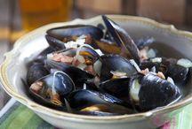 Halak, kagylók, tenger gyümölcsei