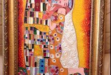 Климт . Поцелуй. Витражное пано / Рисую витражные пано на заказ dolzhina@gmail.com