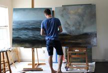 Adam Hall Art / Artist Studio / Contemporary Landscape paintings & Oceanscape paintings. Large scale landscape paintings by Adam Hall