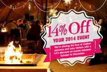 2014 14% off promotion / Planning a party or getting married between October and December 2014? Fancy a cosy PapaKåta teepee or Sperry tent with 14% off!