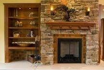 rutic fireplace w/ matel