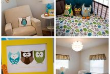 """Baby Owl Room / An """"owls"""" nursery theme. Inspired by the beautiful set design of Harry Potter's nursery in the Deathly Hallows II movie. It features teals, oranges, and natural fall colors. / by dubhlinn2"""