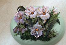 tombak çiçek açtı / tombak üzerine kağıt rölyef