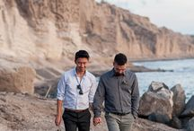 Gay Wedding romantic Sunset Horse Riding photoshoot in Santorini Vlychada volcanic beach