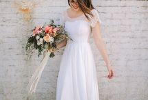 matrimony attire / wedding dress, veil, rehearsal dress, hair, makeup, shoes, rings, groom and bridesmaids ideas!